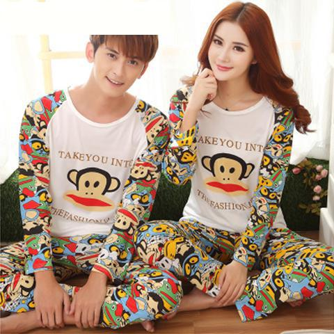 2016 Autumn Long-sleeve Cartoon Lovers Home Clothing Couples Matching Pajamas Adult Minion Pajamas Sets Lovers Sleepwear