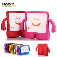 Free Shipping Silicone Thick Foam Shock Proof Soft Stand Tablet Case For IPad 234 3D Cute