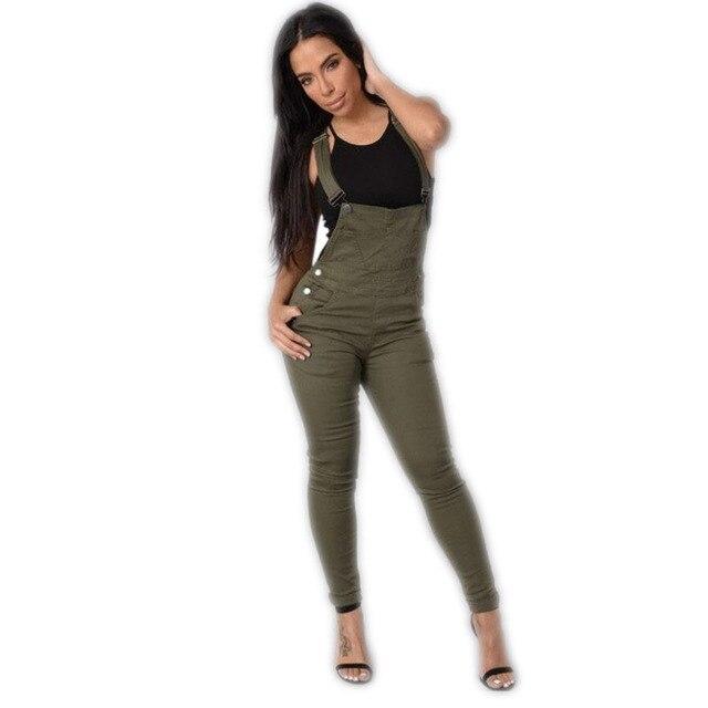 Women Jumpsuit Denim Overalls 2016 New Fashion White Full Length Denim Jeans Rompers Womens Jumpsuit Combinaison Femme Plus Size