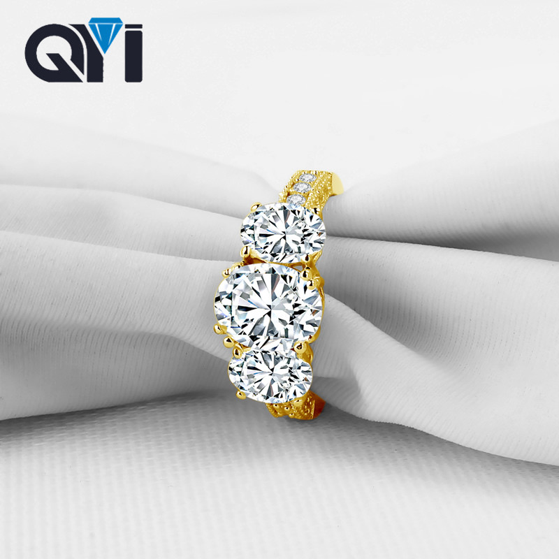 QYI 10K Solid Yellow Gold Rings Luxury large main Stone Fashion Zirconia Simple Wedding Engagement Rings For Women Fine Jewel