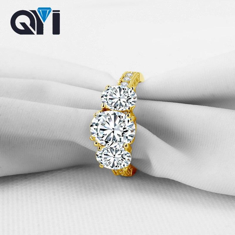 QYI 14 K solide or jaune trois anneaux de pierre de luxe de mode zircone de mariage bagues de fiançailles pour les femmes Fine bijou