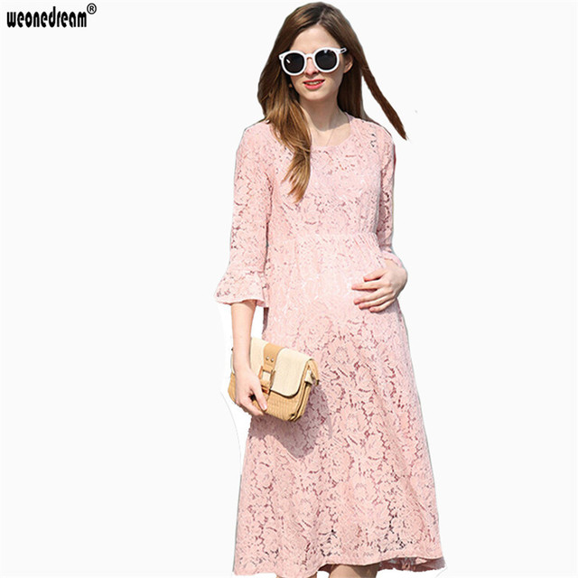 fdf3a5db5c4 WEONEDREAM Spring Summer New Pregnant Woman Maternity Dresses Lace Beauty  Pink Pregnancy Clothes Plus Size Girls