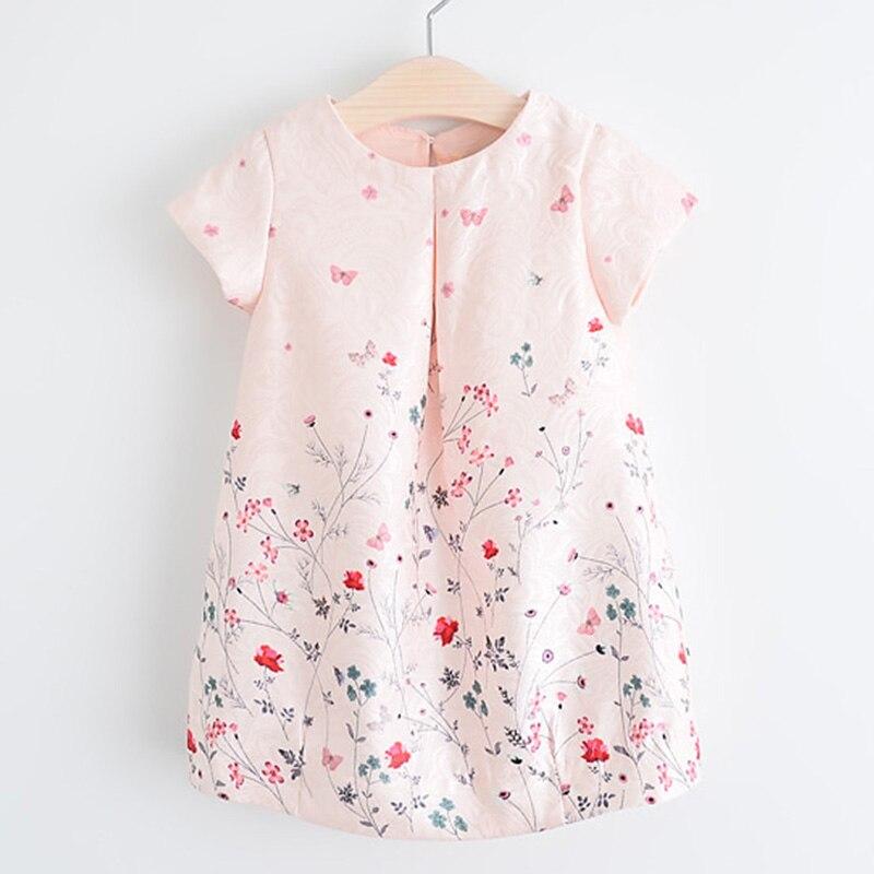 2017 New Style Summer Flower Dress Pink Cotton A Line Short Sleeve Girls Dress Princess Costumes