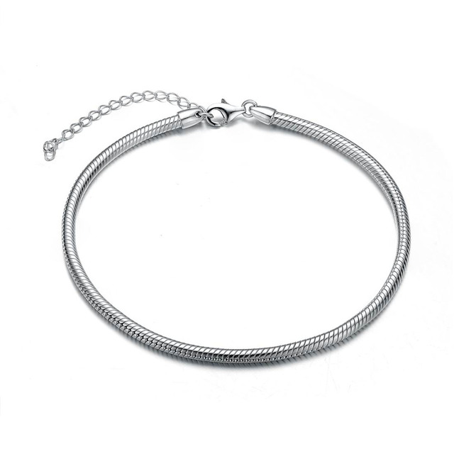 Aceworks 925 Sterling Silver Chain Bracelet DIY Pan Bangle Bracelet Women Jewelry Brand Gift Europe Luxury for Beads