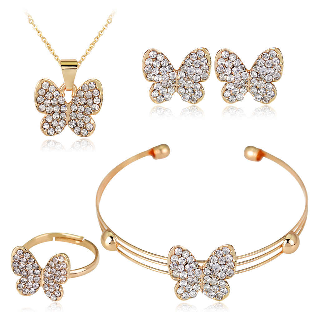 HC Cute Butterfly Girls Kids Jewelry Sets 4pcs Set Fashion Crystal Rhinestones Children Bracelet Necklace Earrings Jewelry Set T