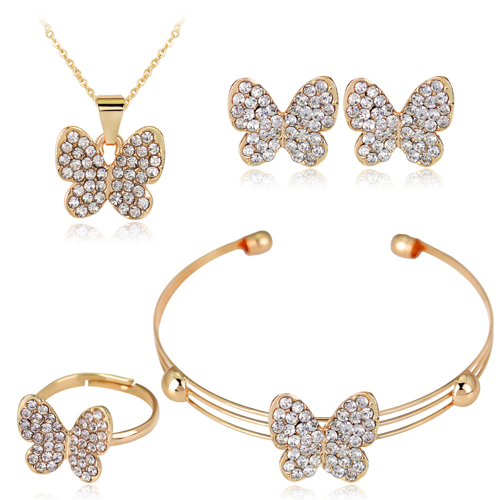 HC Cute Butterfly Girls Kids Jewelry Sets 4pcs Set Fashion Crystal Rhinestones Children Bracelet Necklace Earrings Jewelry Set T