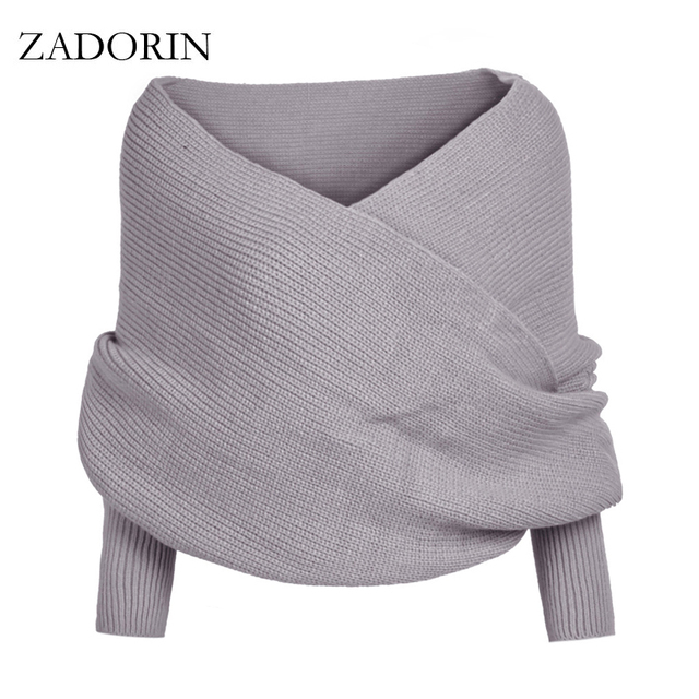Fashion Designer 4 Colors Knitted Poncho Long Sleeve Open Stitch