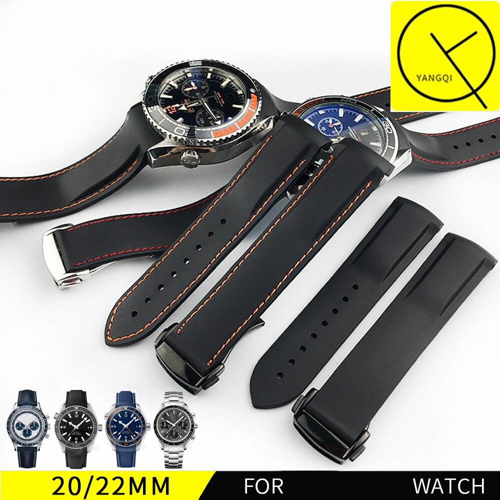ab204e5b183 Borracha de Silicone Pulseiras de Relógio Extremidade Curva Esportes para  Omega Seamaster AQUA TERRA 600 m