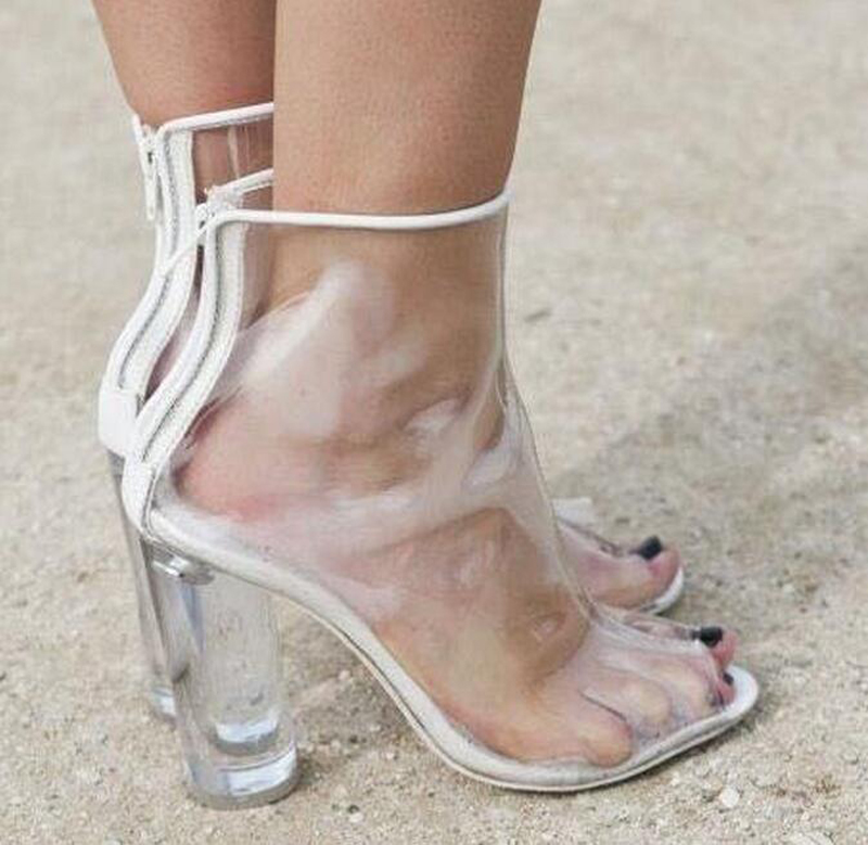 New Fashion  Summer Transparent PVC High Heels Shoes Fashion Slip On Pointed Toe Zipped Women Pumps Shoes 2017 hot sale fashion new women shoes pointed toe transparent pvc party shoes women casual high heels pumps shoes 596