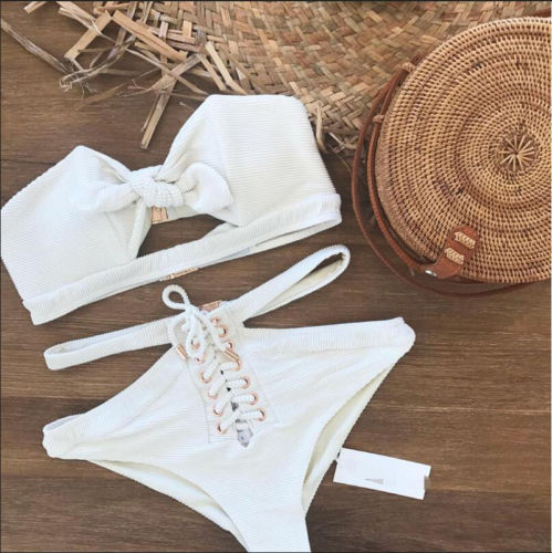 2018 Women Bikini Set Swimwear Push Up Padded Swimsuits Bandage Baikini Sexy Women Beachwear High Waist Bathing Suits