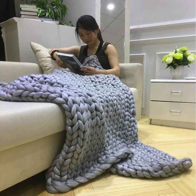 Hand Chunky Knitted Blankets Soft Thick Line Giant Yarn Knitting Throw Plaid Style Merino Wool Blanket
