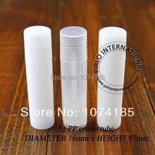 Blanco 5ML tubo de lápiz labial vacío claro protector labial de plástico contenedor brillo de labios muestra de contenedores contenedor de lápiz labial 100 unids/lote