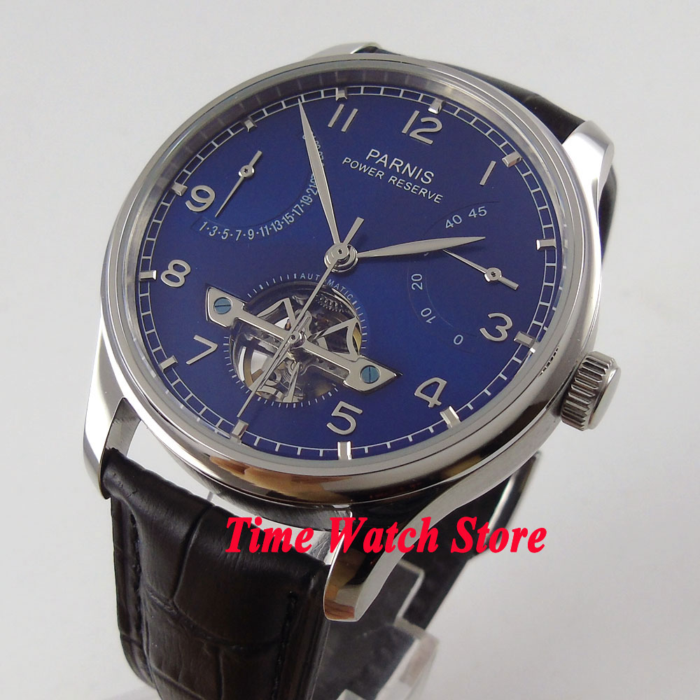 все цены на Parnis watch 43mm Blue dial date power reserve Automatic movement date Automatic Men's watch 547 relogio masculino онлайн