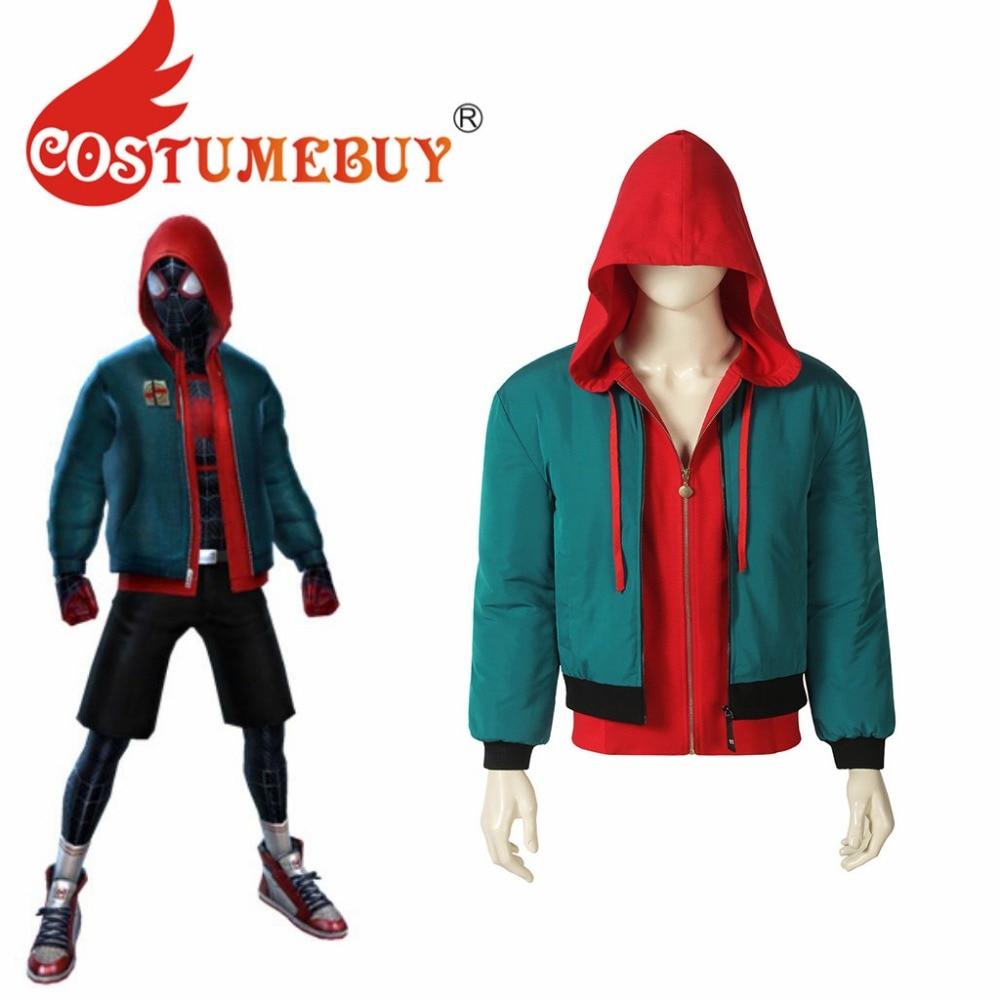 CostumeBuy Spider Into the Spider-Verse Miles Morales Cosplay Costume Jacket Cost Superhero Miles Top Jacket Coat L920