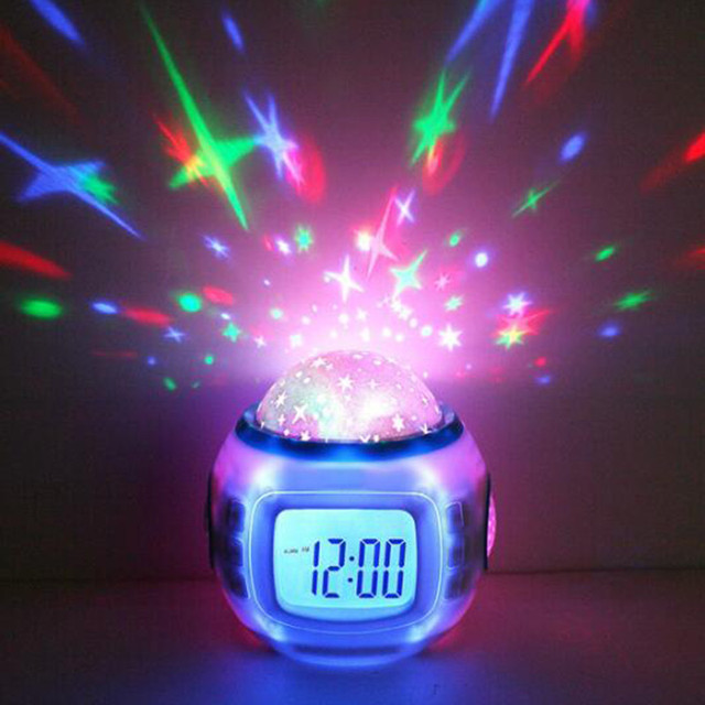 Sky Star Children Baby Room Night Light Projector Lamp Bedroom Music Alarm  Clock Countdown Thermometer Calendar
