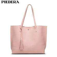 PHEDERA Brand Elegant Women Shoulder Bags Fashion Tassels Female Top-Handle Handbags Pink Beach Bag Pink Pounch for Ladies 2017