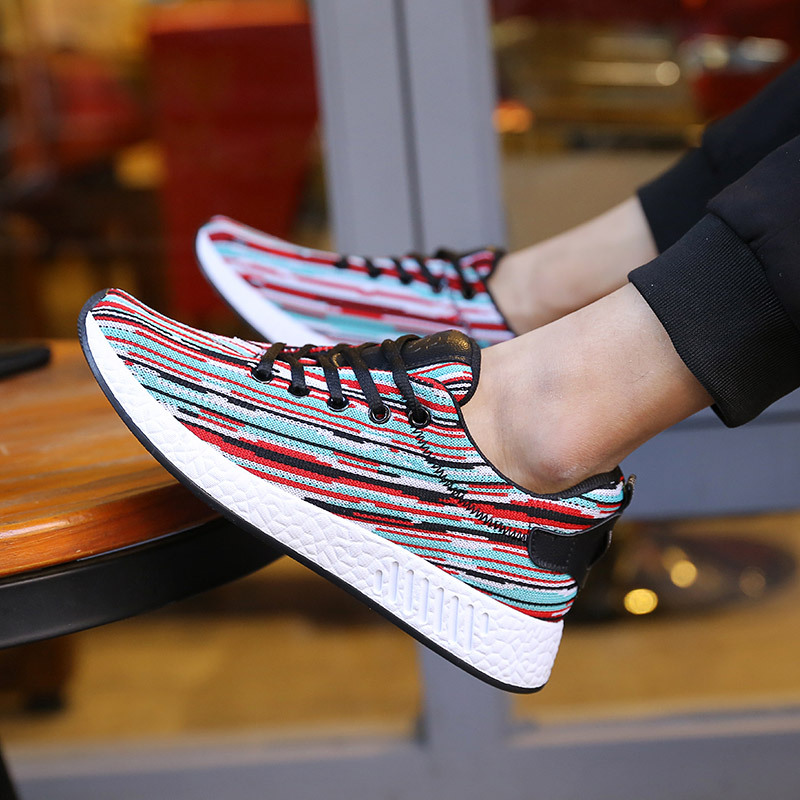 New Mens Sports shoes running shoes Korean male and female students tie wear breathable shoes Knitted shoes sneakers men