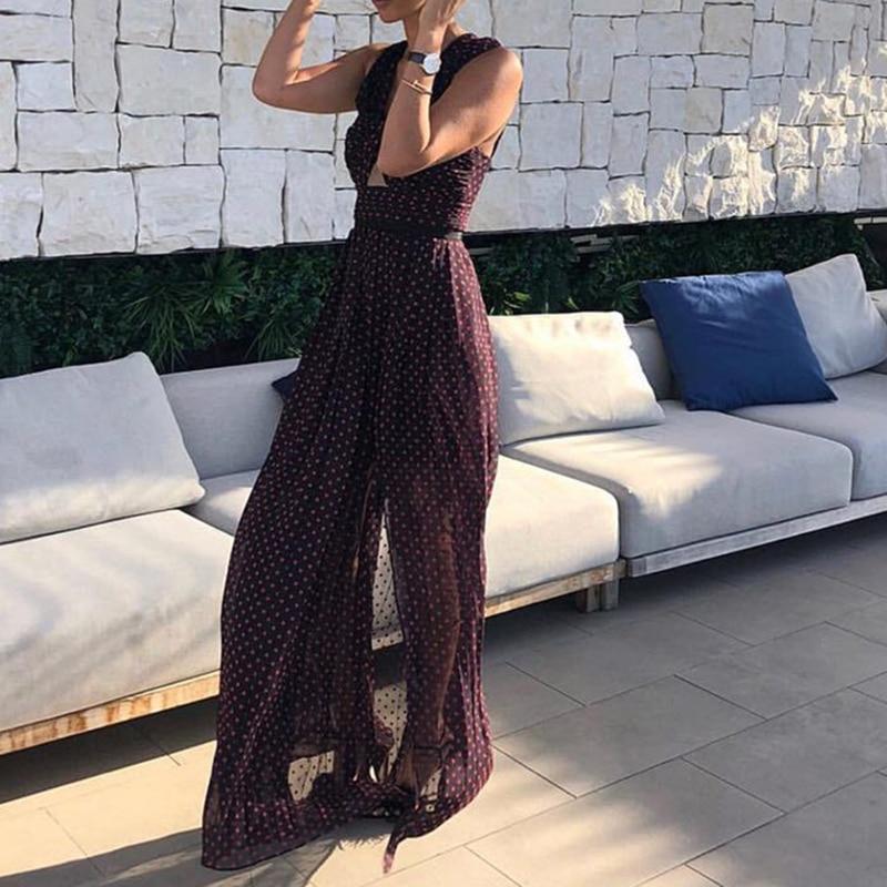 HIGH QUALITY New Fashion 2019 Summer Runway Dress Women s Criss cross Dot Maxi Long Dress
