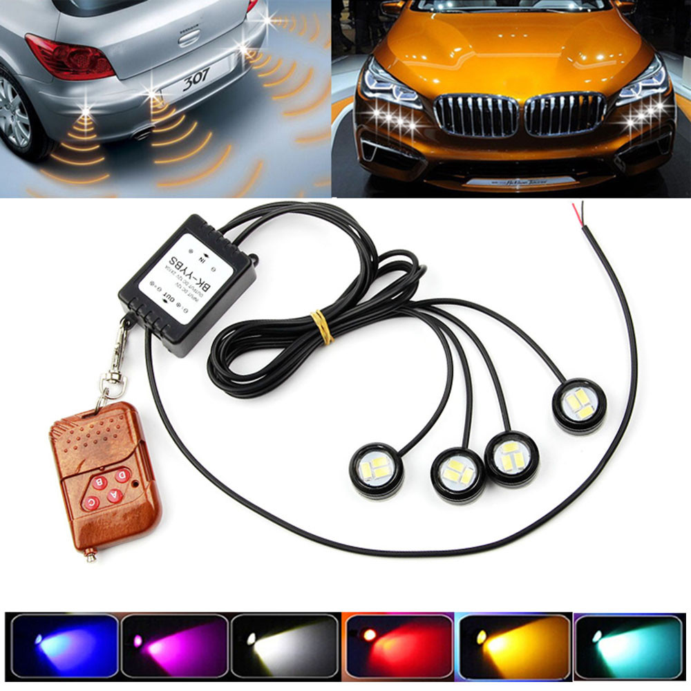 4xLED Lamps For Cars 6000K 3W Strobe Flash Eagle Eye SMD LED Car Light Lamp+Wireless Remote Control Car Accessories-in Signal Lamp from Automobiles & Motorcycles