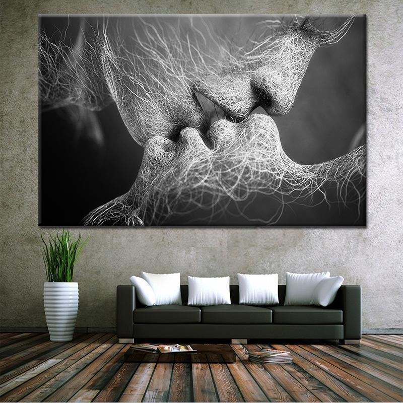 zooyoo liebe kuss lgem lde leinwand kunst gem lde f r wohnzimmer wand keine rahmen dekorative. Black Bedroom Furniture Sets. Home Design Ideas