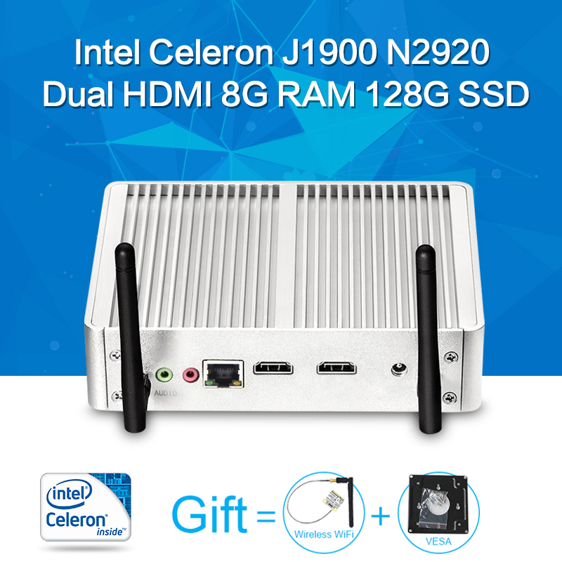 Mini PC Tablet Case Celeron N2920 J1900 Barebone Fanless Motherboard 2 HDMI 6USB Laptop Thin Client