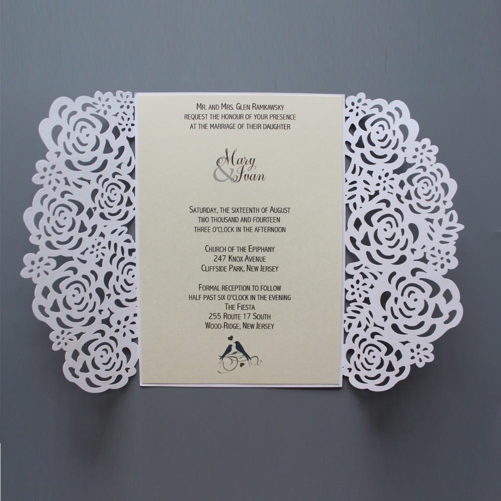 b3111a724ca9 Laser Cut Rose Wedding Invitation