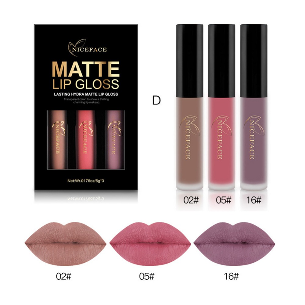 3 Colors Set Lip Color Make Up Waterproof Lip Gloss Tattoo Long Lasting Pigment Red Nude