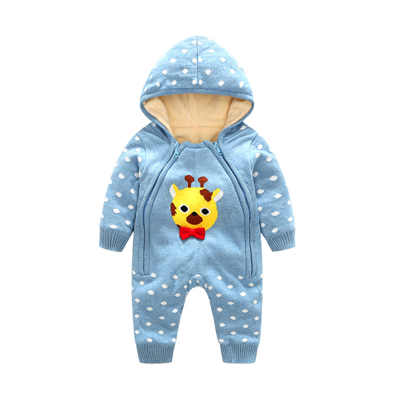 Autumn And Winter Baby Conjoined Clothes Boy Girl Infant Baby Climbing Clothes Child Kid Cartoon Cotton Warm Rompers 0-24 Months mother nest 3sets lot wholesale autumn toddle girl long sleeve baby clothing one piece boys baby pajamas infant clothes rompers