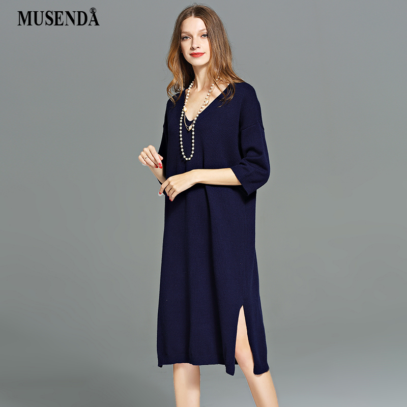 MUSENDA Plus Size Women Blue Stretch Loose Knitting Sweater Split Straight Dress 2017 Autumn Lady Casual Fashion Brief Dresses