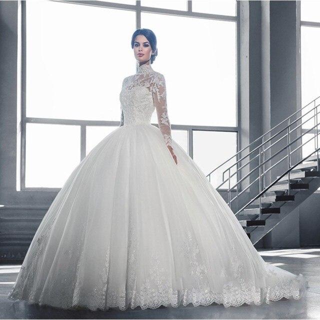 Latest arabic high neck wedding dresses 2017 long sleeves lace ball latest arabic high neck wedding dresses 2017 long sleeves lace ball gown button sweep train wedding junglespirit Images