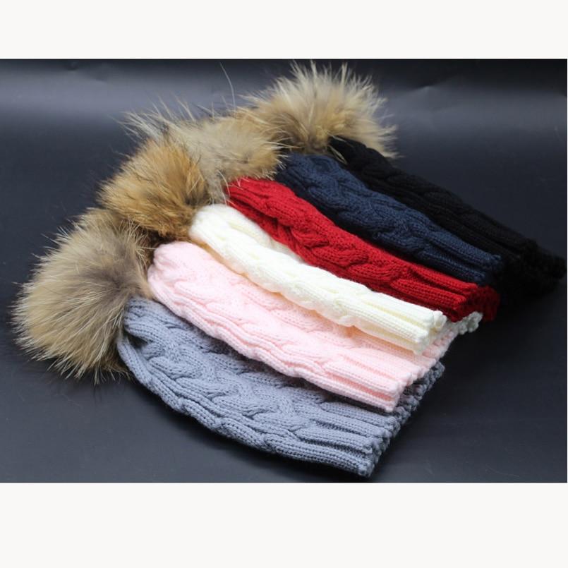 Bebek Kış Şapka Gerçek Kürk Ponpon Çocuk Beanie Çocuk Büküm - Elbise aksesuarları - Fotoğraf 5