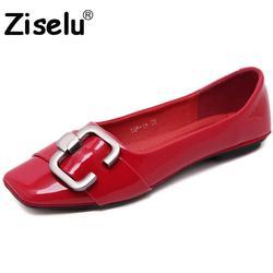Ziselu 2017 new square toe buckle women flats spring autumn pu leather slip on shallow flats.jpg 250x250