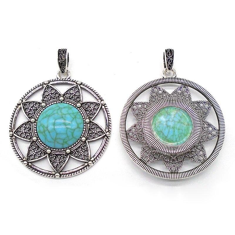 2 New Charms Sun Flower Turquoise Antiqued Bronze Pendants Retro 42.5x46mm