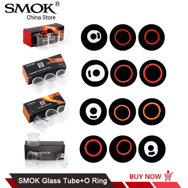Original SMOK Replacement Pyrex Glass Tube and Seal O Ring for TFV8 ...
