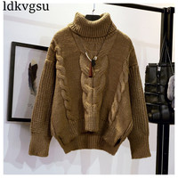 2018 Short High neck Sweater Womens Pullover Autumn Winter New Korean Loose Twist Bat Sleeve Coat Turtleneck Knitted Jackets V73