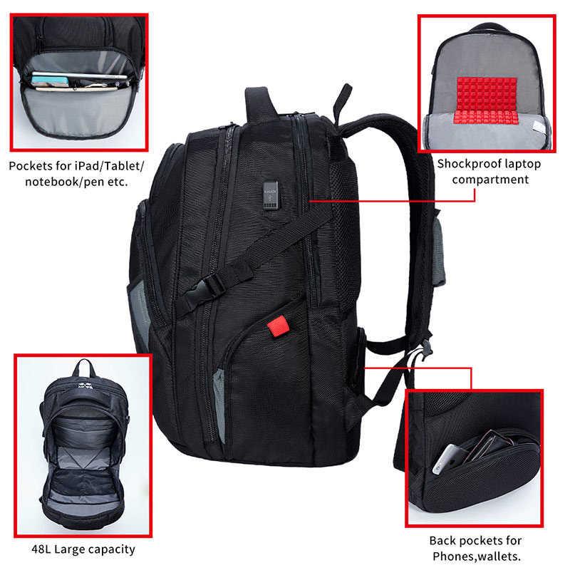 KALIDI Mochila impermeable para hombres Carga USB Mochilas escolares de viaje más grandes Mochila para portátil 17.3 Pulgadas Para Alien Mochila masculina