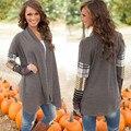Elegante y con estilo Outwear mujeres de manga larga costura Knit Cardigan Tops nacionales viento chaqueta impresa en gris de calidad superior