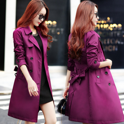 Outerwear Trench-Coat Waterproof Autumn Double-Breasted Woman High-Quality High-Fashion-Brand