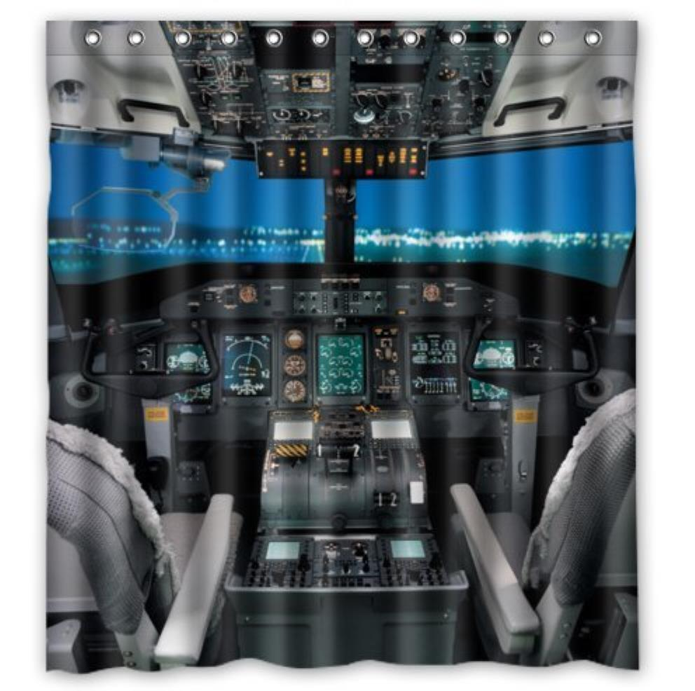Cool Airplane Cockpit Custom Bathroom Curtain Shower Curtains Woman Shadow Shower Curtain Waterproof Polyester Fabric