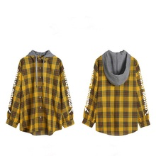 ZOGAA 2019 women shirt tops casual plaid hooded Brand Cotton Casual Women Long Sleeve Blouses Tops Feminina