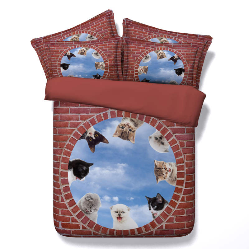 3d printed comforter bedding set quilt/duvet covers bed sheet twin full queen king size 500TC woven sweet cats for children home