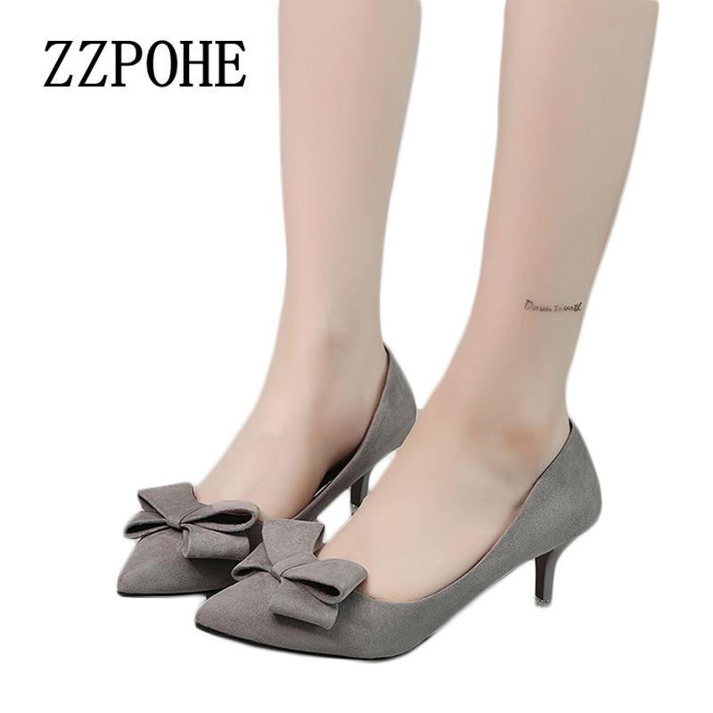 ZZPOHE 2017 Spring Autumn new women bow high heels fashion comfortable woman singles shoes sexy red wedding shoes free shipping siketu 2017 free shipping spring and autumn women shoes fashion sex high heels shoes red wedding shoes pumps g107