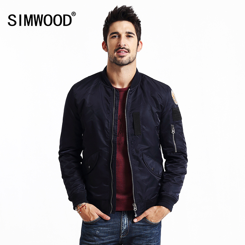 SIMWOOD MA-1 2018 नए बेसबॉल बॉम्बर जैकेट पुरुषों के फैशन हिप हॉप कोट स्ट्रीट वियर सैन्य शीतकालीन पायलट जैकेट पुरुष MF9501