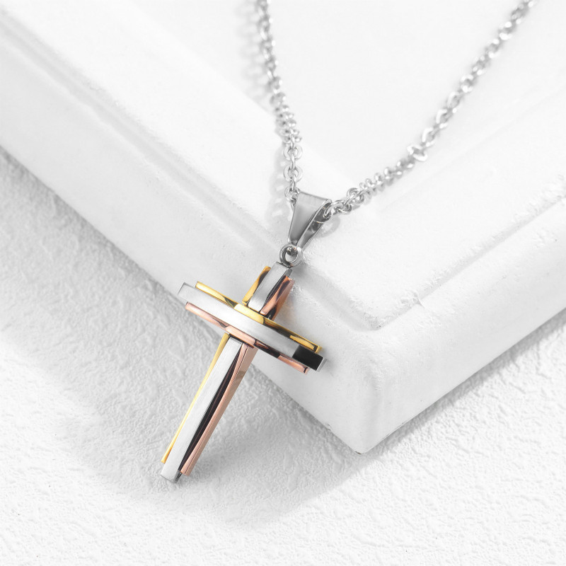 Men And Women Necklace Titanium Steel Cross Pendant Christian Pendant