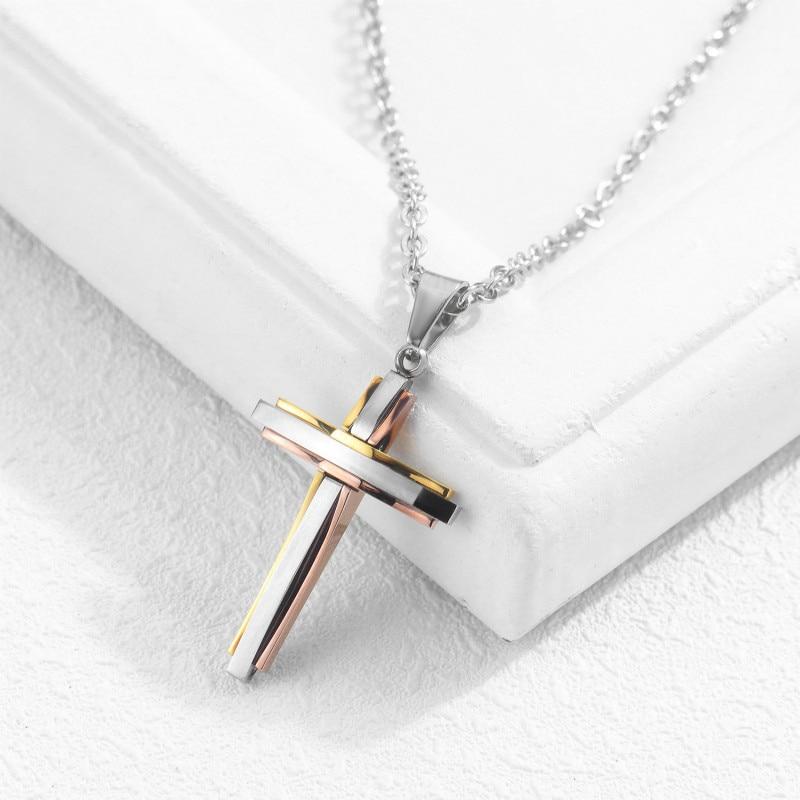 Men And Women Necklace Titanium Steel Cross Pendant Christian Pendant