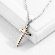 Men and women necklace Titanium steel cross pendant Christian pendant цены