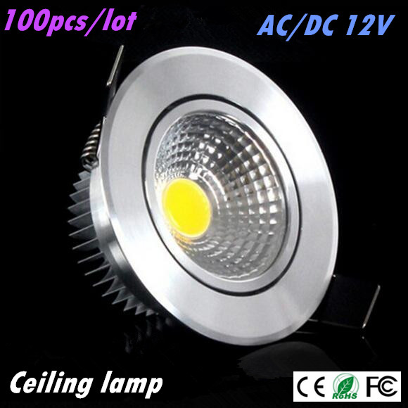 100pcs DHL Super Bright <font><b>Led</b></font> downlight light COB Ceiling <font><b>Spot</b></font> Light 3w <font><b>5w</b></font> 7w AC/DC <font><b>12V</b></font> ceiling recessed Lights Indoor Lighting image