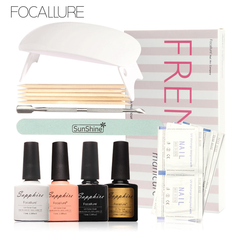 FOCALLURE LED Lamp French Manicure Kit 4 Colors Sapphire UV Gel Nail Art Tools Sets Kits Nail Gel Nails Tools And LED UV Lamp one step nail gel starter kit for french manicure nails with sun uv led nail lamp say goodbye to base and top coat