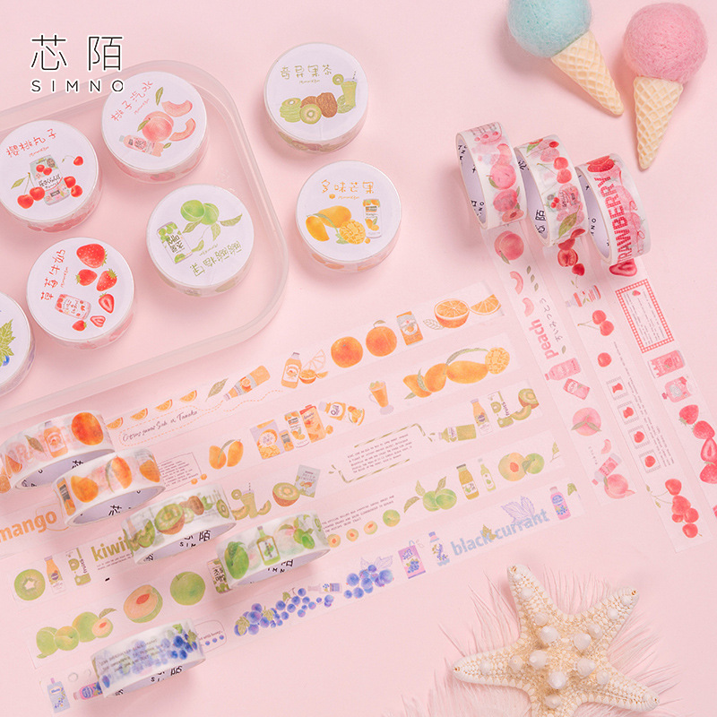 1.5cm Fruit Drinking Tea Series Peach Cherry Washi Tape DIY Scrapbooking Sticker Label Masking Tape School Office Supply