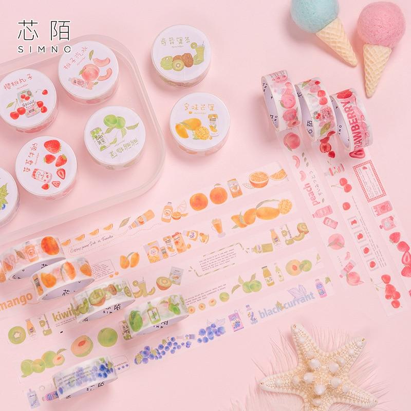 1.5cm Fruit Drinking Tea Series Peach Cherry Washi Tape DIY Scrapbooking Sticker Label Masking Tape School Office Supply